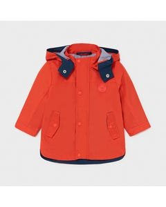 Mayoral Boys Windbreaker Red Hooded Navy Stripe Trim Size 6m-36m | Baby Jackets 1412 Red
