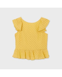 Mayoral Girls Blouse Yellow Flounce Hem & Cap Sleeve Back Snap Closure Size 8-18 | Girls School Shirts 6175 Yellow