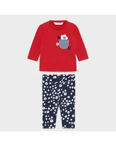 Mayoral Girls 2 Pc Red Tshirt & Navy Legging White Floral Print Long Sleeve Size 1m-18m | Two Piece Outfits For Babies 1796 Red