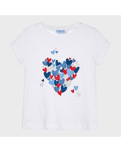 Mayoral  Girls Tshirt White Blue & Red & Silver Heart Print Short Sleeve Size 2-9 | Shirts 3009 White