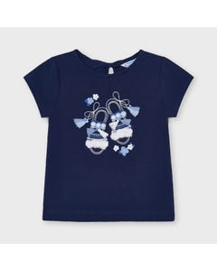 Mayoral  Girls T Shirt Navy Sandal Embroidery With Tassels Size 2-9 | Shirts 3014 Navy