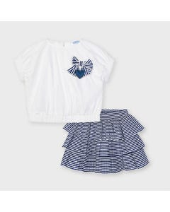 Mayoral  Girls 2Pc Skirt Set White Top & Navy Striped Skirt With 3 Tier Flounces Size 2-9 | Skirts 3960 White