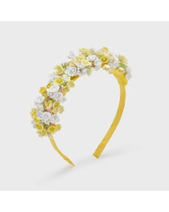 Mayoral  Girls Headband Hard Yellow & White Flower Trim Size OS | Hair Accessories 10069 Yellow