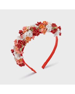 Mayoral  Girls Headband Hard Red White & Orange & Red Flower Trim Size OS | Hair Accessories 10069 Red