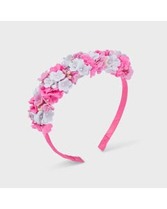 Mayoral  Girls Headband Hard Pink White & Pink Flower Trim Size OS | Hair Accessories 10069 Pink