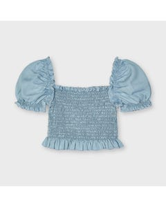 Mayoral  Girls Denim Blouse Smocked Bodice  Size 2-9 | Shirts 3196 Denim