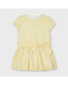 Mayoral  Girls Dress Yellow Sparkly Imitation Belt Short Sleeve  Size 2-9 | Dresses 3921 Yellow