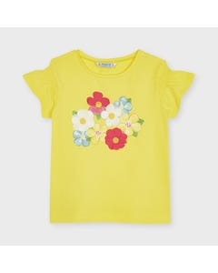 Mayoral  Girls Tshirt Yellow Flower Applique Short Sleeve Size 2-9 | Shirts 3019 Yellow