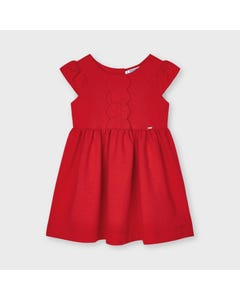 Mayoral  Girls Dress Red Scalloped Front Trim Knit Short Sleeve Size 2-9 | Dresses 3926 Red