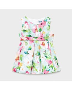 Mayoral  Girls Dress & Belt Floral Print Pistachio Front Pleat & Panels Sleeveless Size 6m-36m | Dresses 1968 Multi