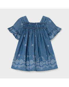 Mayoral  Girls Denim Dress Soft Flower Print & Ruffles Size 6m-36m | Dresses 1981 Denim