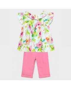 Mayoral Girls 2Pc Blouse & Pant Pink & Floral Top Sleeveless Size 6m-36m | Girls Sets 11791575 Multi
