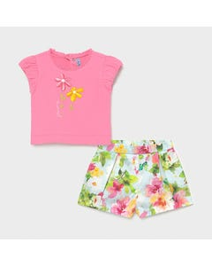 Mayoral  Girls 2Pc Top & Short Set Pink Embroidered Floral Shorts Size 6m-36m | Girls Sets 1234 Pink