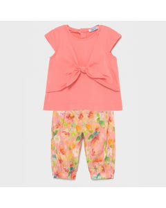 Mayoral  Girls 2 Pc Top & Pant Peach & Floral Pant Tie Front Top Size 6m-36m | Girls Sets 15781093 Pink