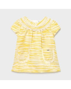 Mayoral  Girls Dress Yellow 2 Pockets Short Sleeve Woven Size 6m-36m | Dresses 1967 Yellow