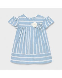 Mayoral  Girls Dress Blue & White Stripe 2 Flowers Applique Size 6m-36m | Dresses 1980 Blue