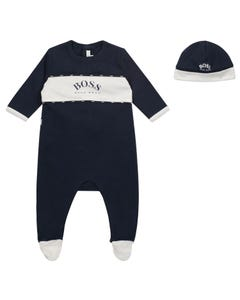 Hugo Boss Boys 2Pc Sleeper & Hat Navy White Trim Printed Logo Size 1m-18m | Sleepers Kids J98309 Navy