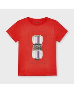 Mayoral Boys Tshirt Red Car Print Short Sleeve Size 2-9 | Boys Shirts 3039 Red