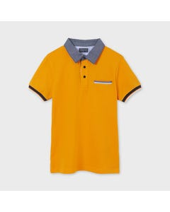 Mayoral Boys Polo Top Orange Chambray Collar Short Sleeve Size 8-18 | Infant Polo Shirts 6107 Orange