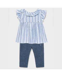 Mayoral Girls 2 Pc Blouse & Legging-Blue Stripe & Soft Denim Ruffled Sleeve & Collar Size 6m-36m | Baby Set 1179 1704 Blue
