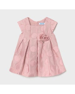 Mayoral Girls Dress Pink Dots & Pleats With Rose Applique Cap Sleeves Size 6m-36m | Baby Dress 1961 Pink