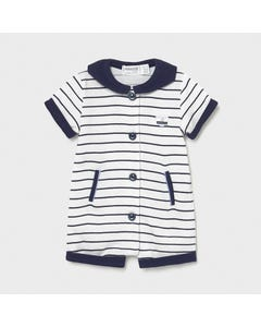 Mayoral Boys Romper Short Navy & White Stripe Front Closure Sailor Collar Navy Size 0m-18m | Baby Boy Rompers 1627 Navy