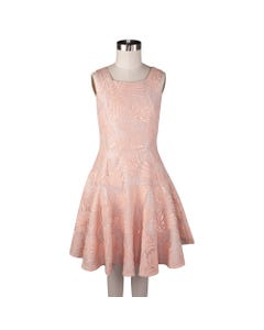 Blink Blank Girls Dress Pink Sequin & Embossed Lace Pattern Flared Size S-M | Dresswear For Toddler Girls 0 Pink