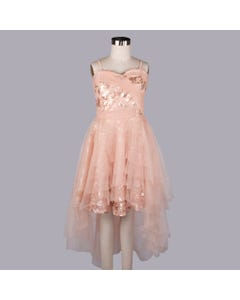 Blink Blank Girls Dress Peach Sequin & Tulle Layers Pleated Bodice Hi Low Size M | Dresswear For Toddler Girls 0 Peach