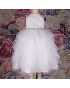 Joan Calabrese Girls White Tulle Gown 116366 | Kids Dresses 116366 White