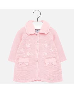 Mayoral KNIT COAT PINK FUR COLLAR BOW POCKET TRIM Sizes 6m-36m | 2427 PINK