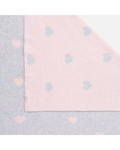 Mayoral KNIT BLANKET GREY AND ROSE  PINK HEARTS PRINT Sizes OS | 9008 GREY