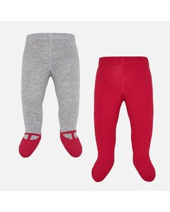 Mayoral 2PACK TIGHTS RED AND GREY KNIT Sizes 0m-18m | 9150 MULTI