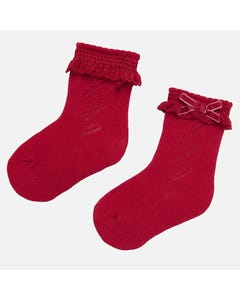 Mayoral SOCK RED LACE CUFF VELVET BOW TRIM Sizes 3m-18m | 9173 RED