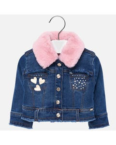 Mayoral DENIM JACKET PINK FLEECE LINING PINK FUR COLLAR  Sizes 6m-36m | 2425 DENIM