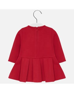 Mayoral DRESS RED ELASTIC  PLEATED SKIRT LONG SLEEVE FLOWER APPLICAY Sizes 6m-36m | 2929 RED