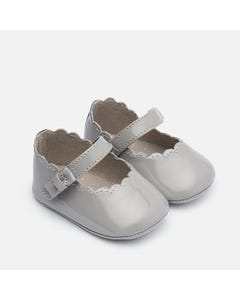 Mayoral SHOE GREY PATEN LEATHER MARY JANE SCALLOPPED EDGE Sizes 15-19 | 9217 GREY