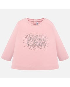 Mayoral TSHIRT PINK SILVER STUDS LONG SLEEVE Sizes 6m-36m | 116 PINK