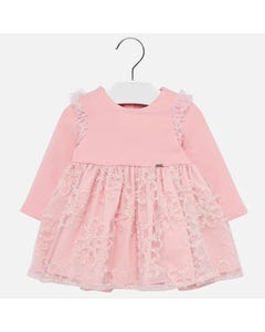 Mayoral DRESS ROSE EMBROIDERED TULLE SKIRT KNIT LONG SLEEVE TOP Sizes 6m-36m | 2906 ROSE