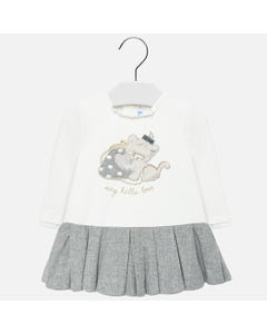 Mayoral DRESS WHITE TOP GREY PLEATED SKIRT TIGER WITH PURSE PRINT Sizes 6m-36m | 2912 WHITE