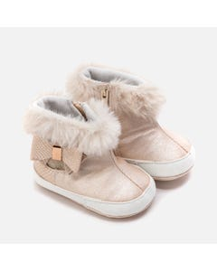 Mayoral BOOTIES CHAMPANGE FAUX FUR TRIM BOW & ZIPPER CLOSURE Sizes 16-19 | 9220 BEIGE