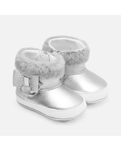 Mayoral BOOTIES SILVER FAUX FUR TRIM BOW & ZIPPER CLOSURE Sizes 16-19 | 9220 SILVER