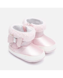 Mayoral BOOTIES ROSE FAUX FUR TRIM BOW & ZIPPER CLOSURE Sizes 16-19 | 9220 PINK