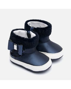 Mayoral BOOTIES NAVY FAUX FUR TRIM BOW & ZIPPER CLOSURE Sizes 16-19 | 3302 Navy