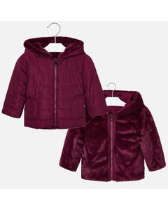 Mayoral FUR JACKET REVERSIBLE RUBY HOODED  Sizes 2-9 | 4422 BURGUNDAY
