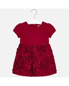 Mayoral DRESS RED FLORAL NETTING SKIRT SHORT SLEEVE  Sizes 2-9 | 4920 RED