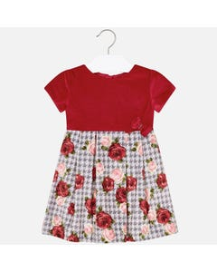 Mayoral DRESS RED VELVET TOP & GREY RED ROSES SKIRT BOW PLEATED Sizes 2-9 | 4921 RED