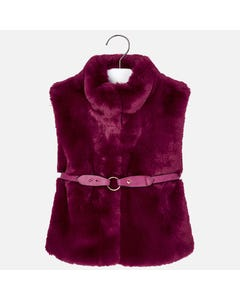 Mayoral FUR VEST + BELT BURGUNDAY  Sizes 2-9 | 4307 BURGUNDAY