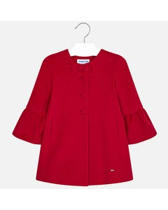 Mayoral RED COAT BELL SLEEVE BOW TRIM Sizes 2-9 | 4412 RED