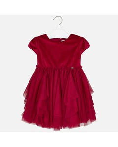 Mayoral DRESS RED VELVET & TULLE LAYER SKIRT SHORT SLEEVE Sizes 2-9 | 4926 RED