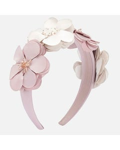 Mayoral HEADBAND HARD BEIGE & DUSKY ROSE FLOWER TRIM Sizes 4 | 10712 BEIGE